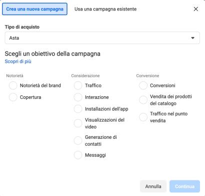Obiettivo di campagna Facebook