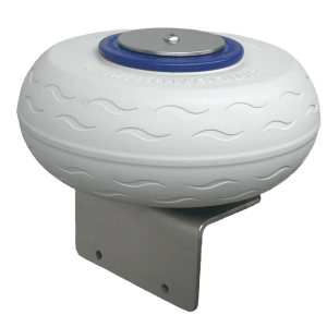 Marinaquip – Innovative Marina Equipment: Docking Wheel. New Zealand. NZ. Seriously strong stainless steel bracket with puncture proof solid polyurethane foam rolling fender corner wheel