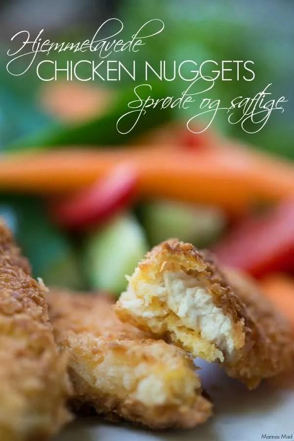 Opskrift på hjemmelavede chicken nuggets. Sprøde og lækre som børn elsker dem.