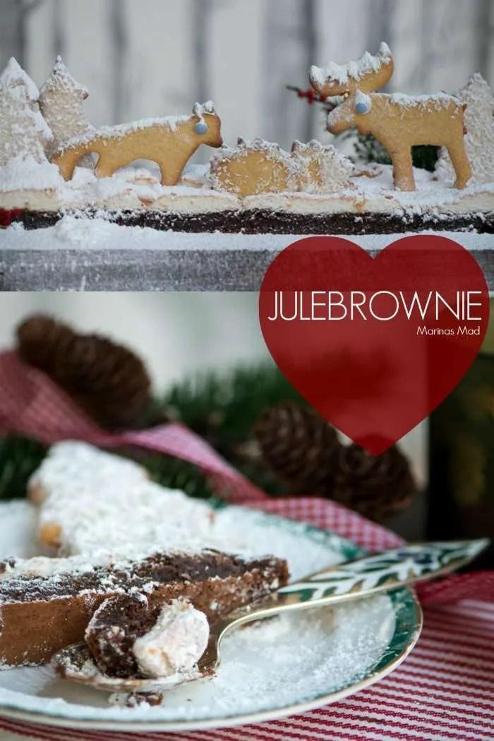 Julebrownie med marengs