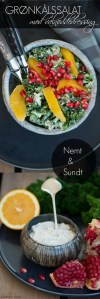 Grønkålssalat. Opskrift med appelsin, granatæble og valnødder