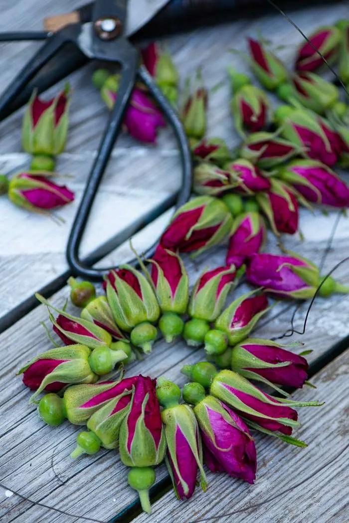 DIY krans af rosenknopper