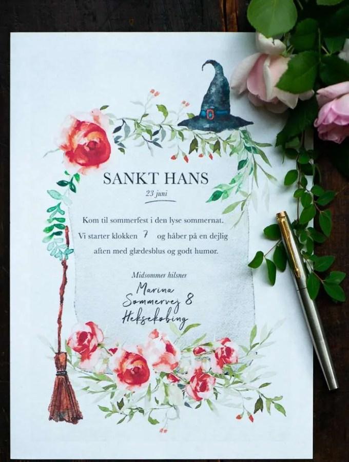 Print gratis invitation til Sankt Hans aften