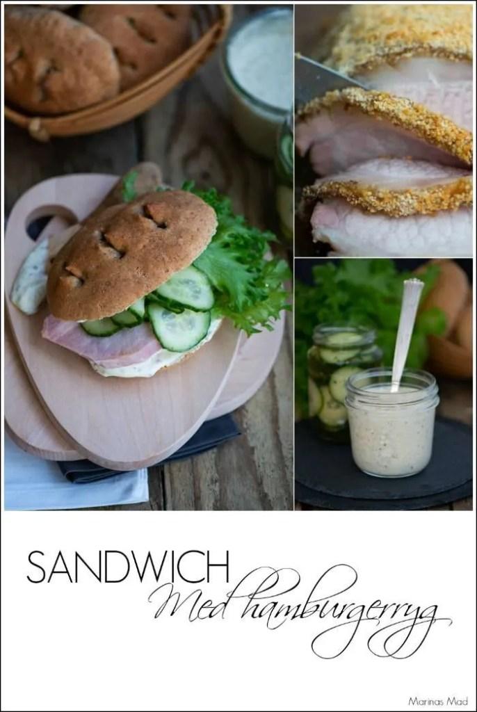 Sandwich med hamburgerryg og sennepsdressing. En opskrift fra Marinas Mad
