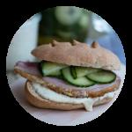 Sandwich med hamburgerryg. Opskrift fra Marinas Mad