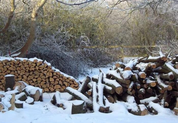 Brændestak med vintersne
