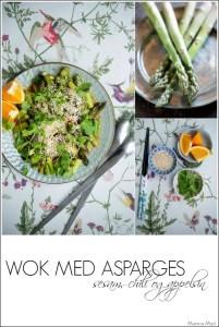 Opskrift med asparges, appelsin, chili og hvidløg