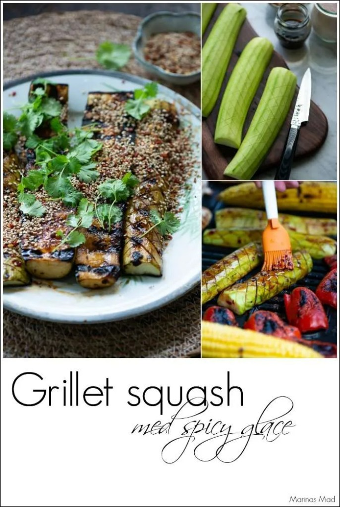 Grillet squash med spicy glace