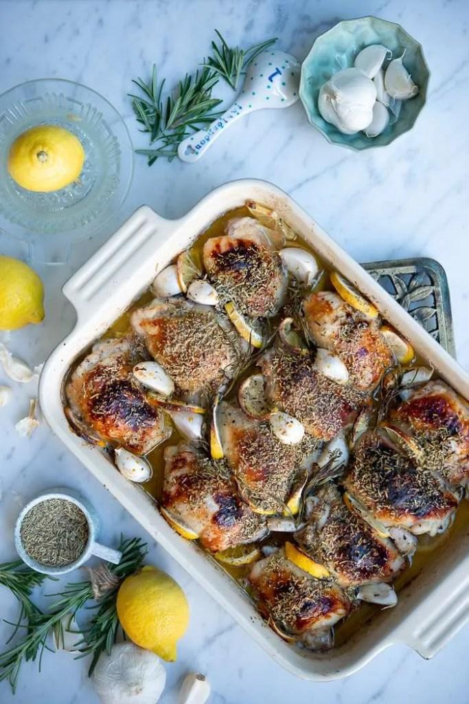 Opskrift på kyllingelår i ovn med citron, hvidløg og rosmarin