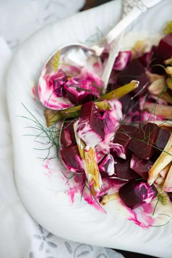 Salat med cream og bagte rødbeder