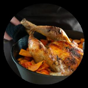 Helstegt kylling med ahornsirup og søde kartofler