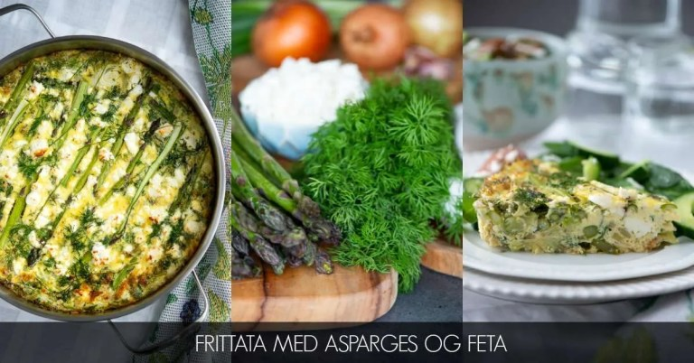 Tre billeder af min aspargesfrittata. Første billede viser fristaten i panden. I midten råvarer der bruges. Sidste billede er et et stykke frittata på tallerken.