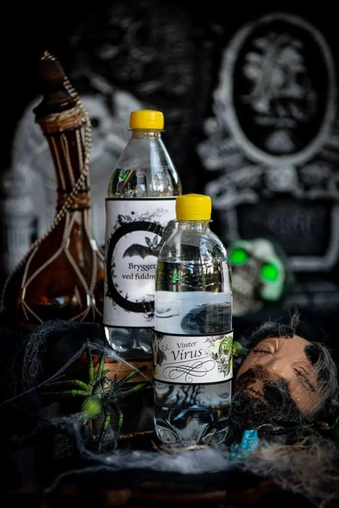 Halloween etiketter til gennemsigtige flasker