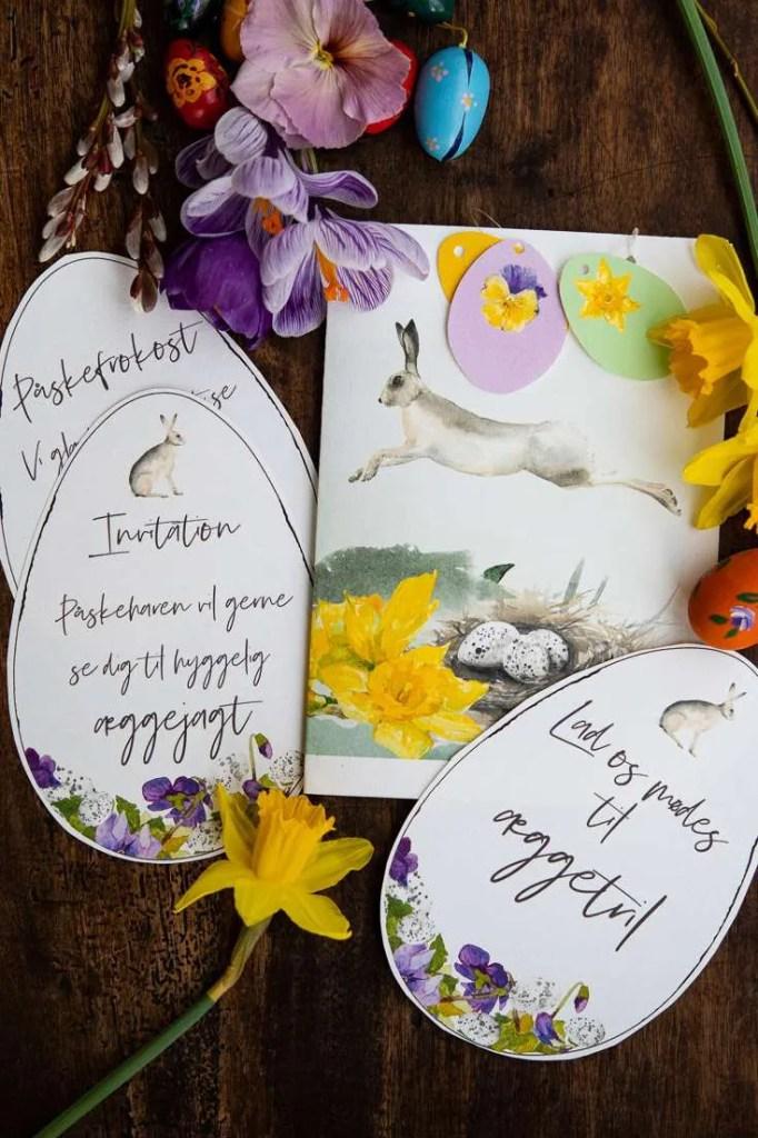 Omslag til invitation og bla invitation til påskefrokost
