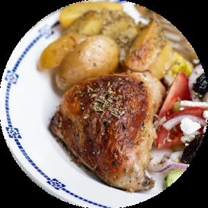 Opskrift på græske kyllingelår med kartofler