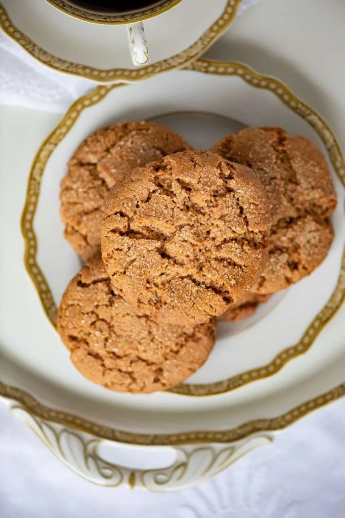 De lækre sprøde ingefærcookies set oppefra