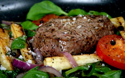 Grilled Steaks with Mixed Peppercorns