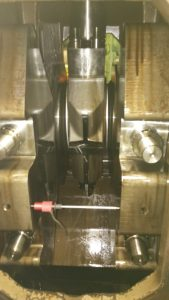 Crankshaft deflection with dial indicator placed scaled