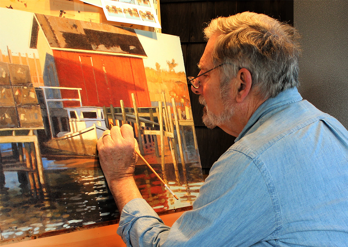 The painter Steve Rogers working on his marine art in his Lewes, Delaware studio.