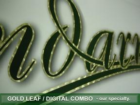Gold leaf outline on digital lettering