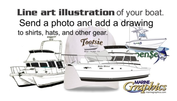 Line art illustration of your boat.