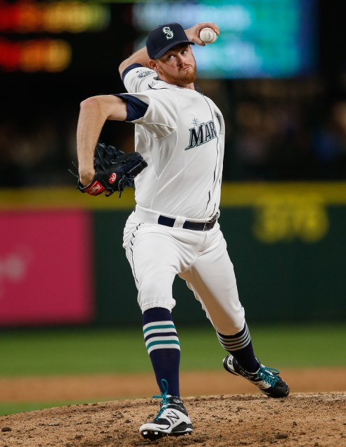 SEATTLE, WA - APRIL 20: Relief pitcher Charlie Furbush #41 of the Seattle Mariners pitches against the Houston Astros in the sixth inning at Safeco Field on April 20, 2015 in Seattle, Washington. (Photo by Otto Greule Jr/Getty Images)