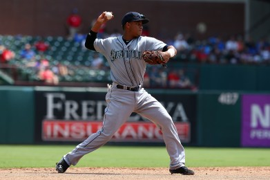 during a game against the at Globe Life Park in Arlington on August 19, 2015 in Arlington, Texas.
