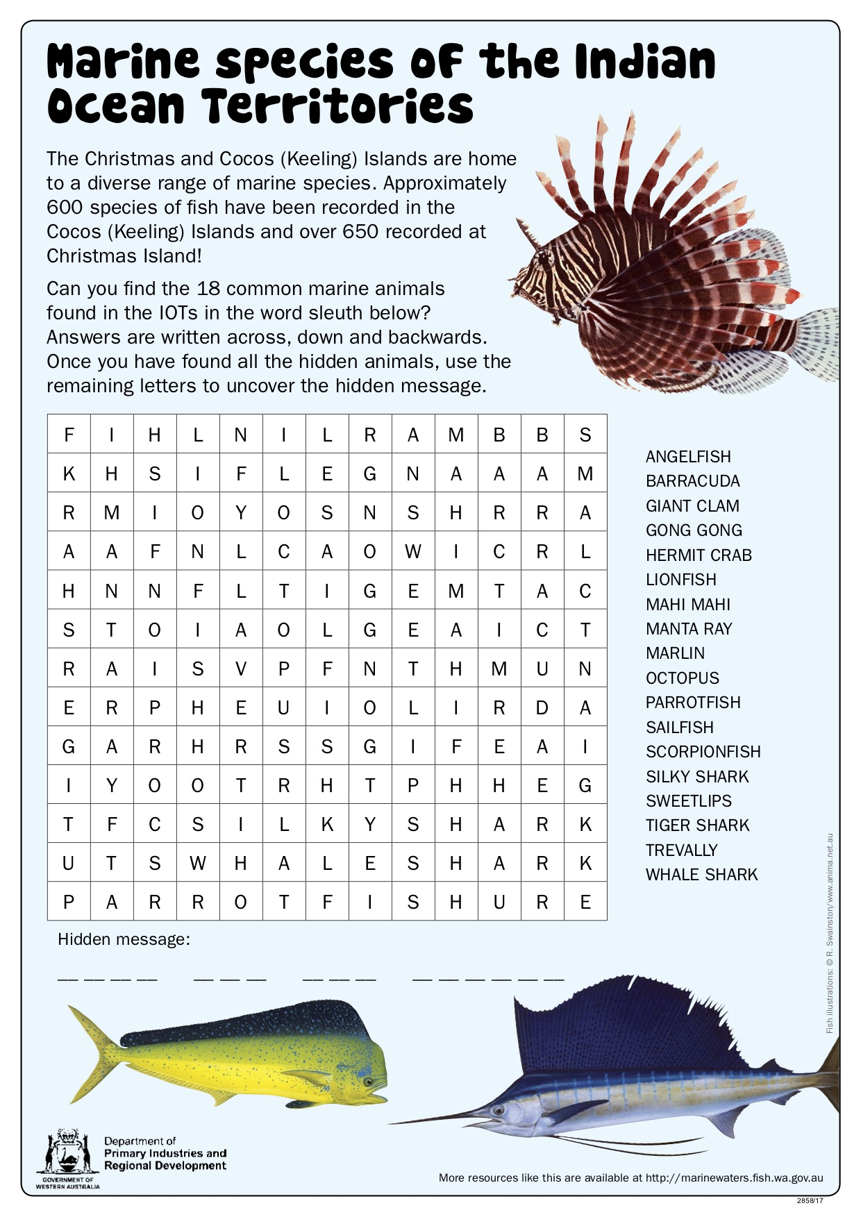 Fishy Fun Sheet Marine Species Of Iots