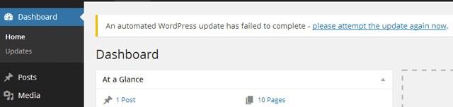 Failure update message