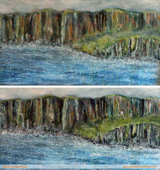 Work in Progress: Cliff Edge Painting by Marion Boddy-Evans