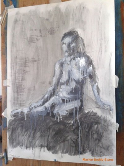 Life painting with graphite and solvent