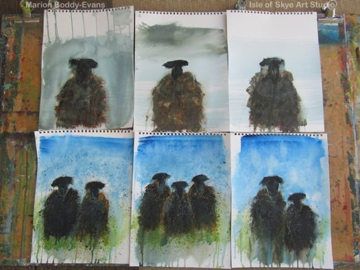 Painting Studies for 'Black' Sheep Skye Scotland