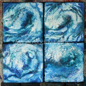 Four Small Waves Paintings by Skye Scottish Artist Marion Boddy-Evans