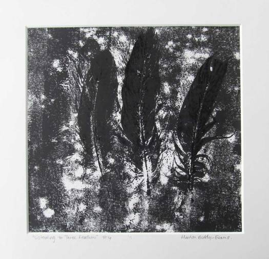 Feather Monoprints: Listening to Feathers #4