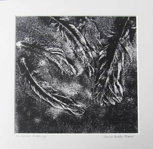 Feather Monoprints: Nocturnal