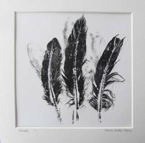Feather Monoprint: Echoes