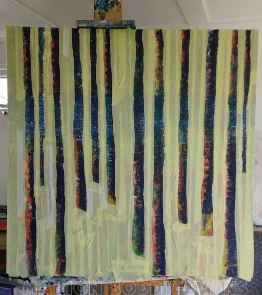 WIP Tree Painting May2016: Taped and Ready to Paint Birch Tree Trunks