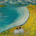 Sheep painting white sandy beach by Marion Boddy-Evans