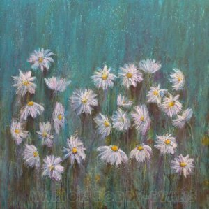 Dancing with Daisy painting flowers