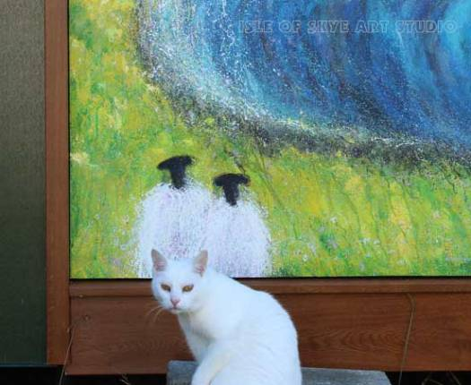 Ghost Cat and Sheep Painting Watching Waves
