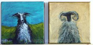 Sheep Dog and Gold Ram by Marion Boddy-Evans Isle of Skye Scotland Artist