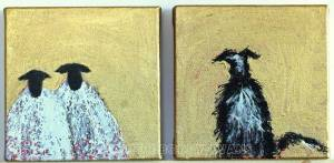 Gold Sheep and Dog by Marion Boddy-Evans Isle of Skye Scotland Artist