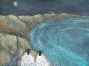 Sheep Painting: Passing Place by Isle of Skye Scotland artist Marion Boddy-Evans