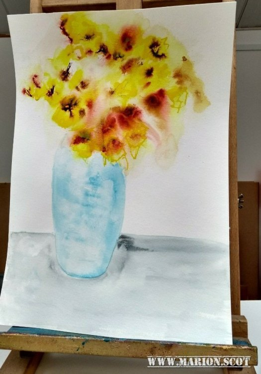 Daffodils in Blue Vase Uncropped