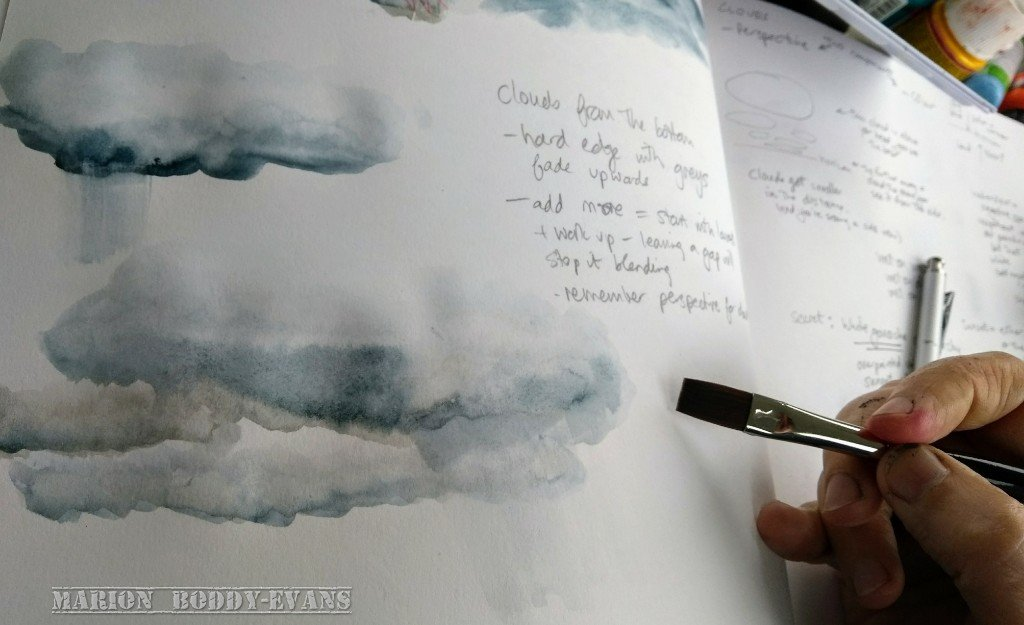 Practising Clouds in Watercolour