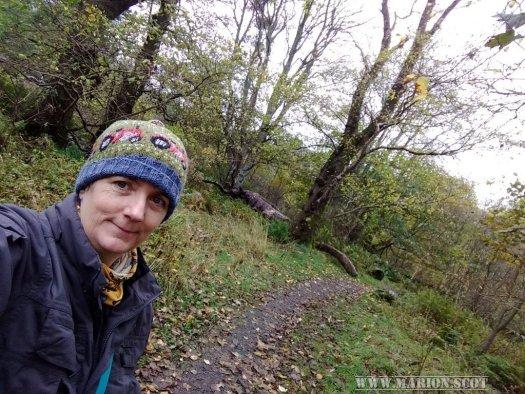Artist Marion Boddy-Evans in Uig woodland Skye