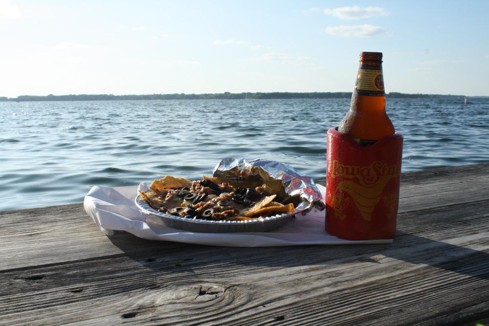 West Lake Okoboji and Taco House beef and black olive nachos. (Click photo to enlarge.)