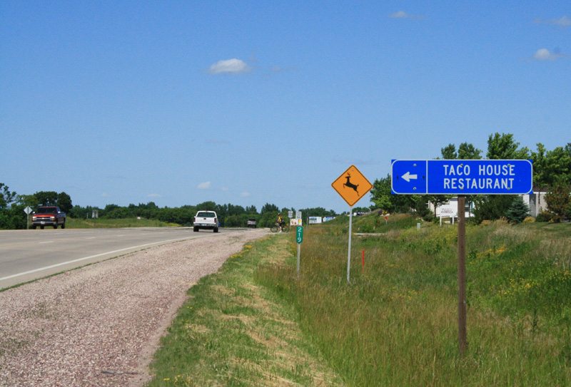 Just north of Milford, Iowa, looking north at the Taco House sign on new Highway 71.  (Click photo to enlarge.)