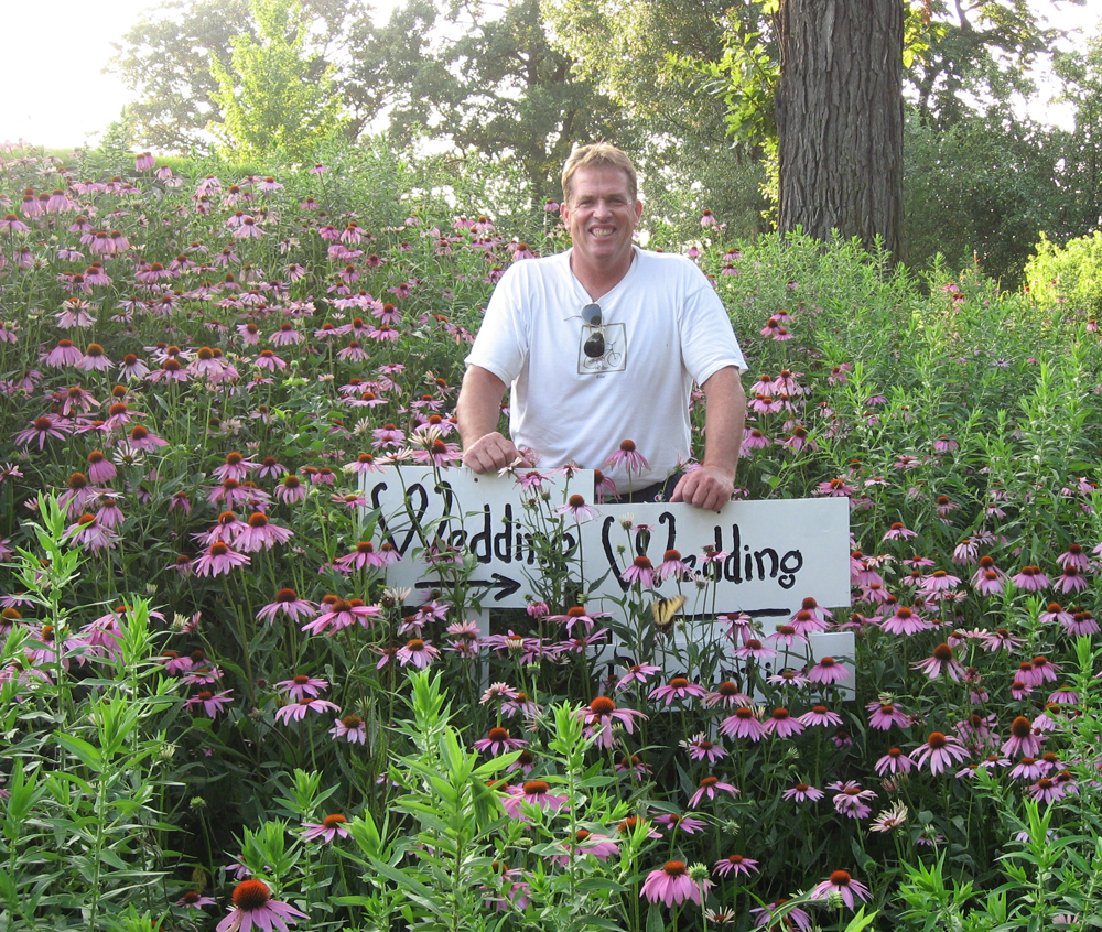 Bill and his Purple Coneflowers, July 2008.