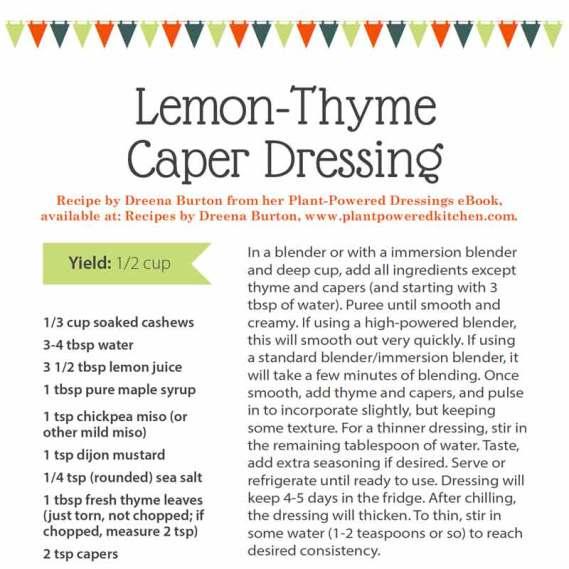 Lemon-thyme caper dressing recipe, benefits of lemon, plant-based cooking